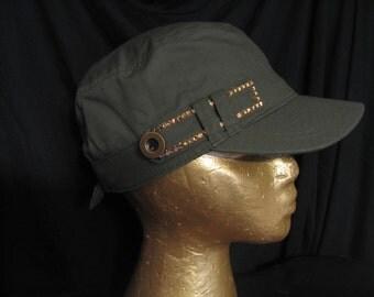 MILITARY CADET CAP-Khaki Green Hat-Island Resort Accessory-Swarovski Crystals
