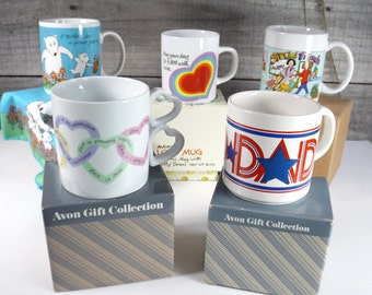 Vintage Avon Mug Cup Mother's Father's Day Dad Special Mom Friends Sweet Sentiments Romantic Love Heart Red Blue Pink Purple TAKE YOUR PICK