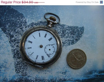Antique Pocket Watch Body Case with movement and dial in coin silver 0.800  / steampunk supply findings / old pocket watch - PW47