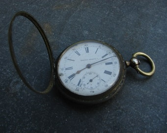 Old Antique pocket watch / Solid Silver 84 full hunter Pocket Watch Body Case / Altered Art Assemblage Industrial art steampunk supply PW05a