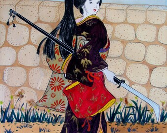 "Japanese art "" Guard lady at the Castle"" Watercolor on cotton paper"
