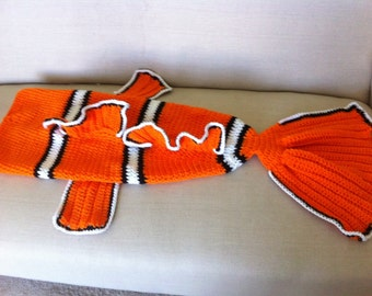 Finding Nemo Blanket Tail - Cocoon - Clown Fish - Preemie, Child, Adult Size Crochet/Back to school/Christmas in July Sale