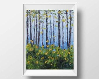 California Print, Yosemite Print, Giclee Print, Trees, Blue, Yellow, Redwoods, Wildflowers, 8x10, California Landscape, Palette Knife Art