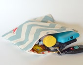 Basic Zippered Pouch for SSC, TULAs and Waist Belts - Blue Zig Zag