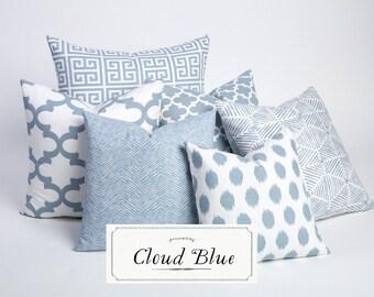 Cloud Blue Collection / Decorative Throw Pillow Cover / Throw Pillows / Decorative Pillow Cover / Light Blue / Porcelain Blue-DJ3F