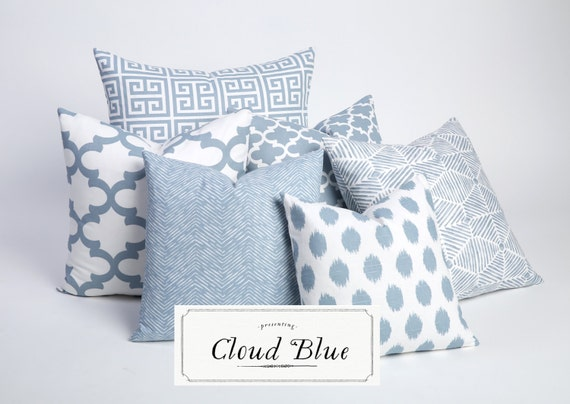 Light Blue Throw Pillow Covers : Cloud Blue Collection / Decorative Throw Pillow Cover / Throw