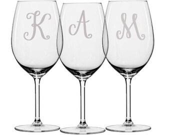 Monogrammed Wine Glasses, Personalized Wedding Glasses, Bridesmaid Glasses, Maid of Honor Glasses