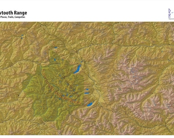 Sawtooth Range Map of Peaks and High Places. Many Mountains, Valleys, Campsites, Trails, Places