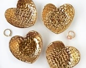 Hammered Gold Heart Ceramic Ring Dish, Jewelry Holder, Wedding Gift, Valentine's Day, Anniversary, Bridesmaid, Engagement, Mother's Day