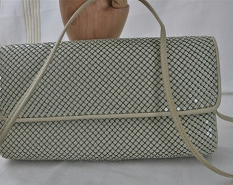 FREE SHIPPING in Continental USA, Vintage 70s-80s Ivory Whiting Davis Alumesh Flap Clutch Bag w/Shoulder Strap, Ivory Mesh Shoulder Bag