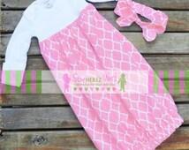 PINK Coming Home Set Preemie NEWBORN 0-3 mos, 3-6 mos Layette Gown Optional Headband