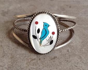 Native American Vintage Zuni Blue Jay Turquoise Coral Jet MOP Inlay Sterling Bracelet