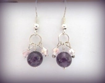 Amethyst Gemstone -  gemstone earrings - earrings - purple earrings