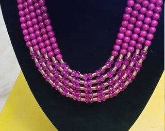 Nigerian African  Wedding Bridal Party Traditional 5 Layer Fuschia & Gold necklace, bracelet, earrings Jewellery set.