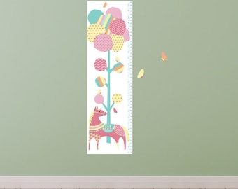 Tree and Pony Growth Chart Wall Decals - Growth Chart Fabric Wall Decals