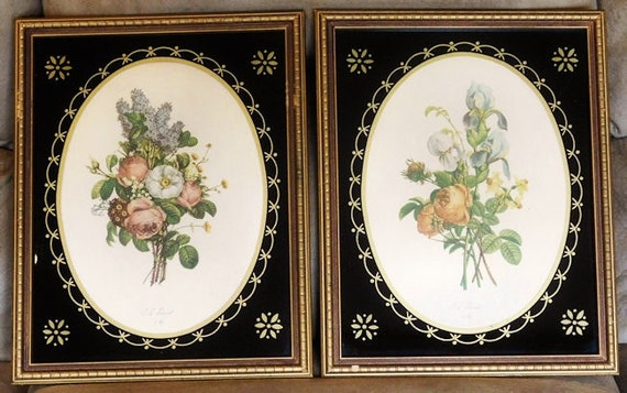 JL Prevost Prints Pair Rare Reverse Painted Glass Frames 1940s Botanical Bouquet Paris Art Jean Louis French Artist Sidney Z Lucas New York