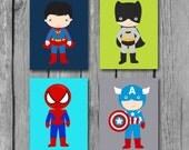 Boys Room Decor/Superhero Wall Art/Nursery Decor/Little Boys Wall Art/Set of 4 Prints