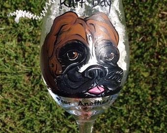 Boxer Dog Puppy Ruff Day Wine Glass