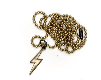 Brass Lightning Bolt Pendant Necklace by E3 Supply Co