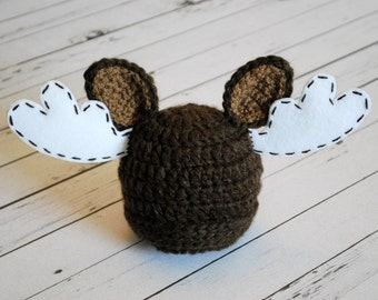 Moose Hat - crochet moose hat - Moose prop - Newborn Prop - Photography Prop - Newborn Moose Prop - Newborn Moose Hat - crochet moose