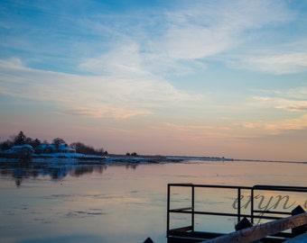 newburyport waterfront, sunrise photography, merrimack river, winter, nautical, wall art, home decor