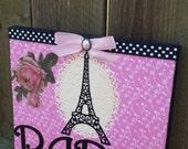 Paris Eiffel Tower Shabby Wall Decor Sign Pokedot Bedroom Black Pink French