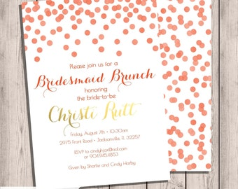 Bridesmaid Brunch Invitation, Bridal Party, Confetti, Coral and Gold, Customized Invitation, Wedding Day, Custom, Double-Sided, 5x7