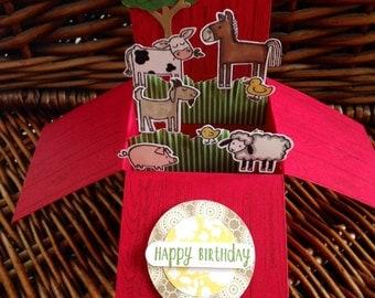 Birthday card, farmyard, farm animals