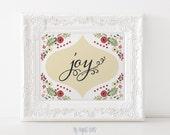 Joy Print - Christmas Printable Art - Holiday Art Print - Printable Christmas Decor - Red and Green Christmas INSTANT DOWNLOAD