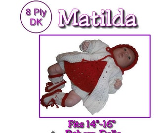 MATILDA Knitting patter to fit 14 to 16 inch Reborn doll or prem baby