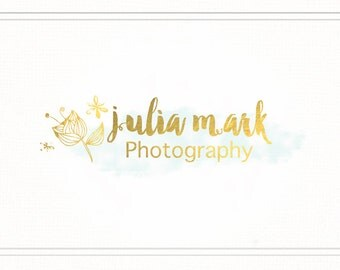 Photography Logo. Premade Design. Gold Brushed Logo with Watermark - L051