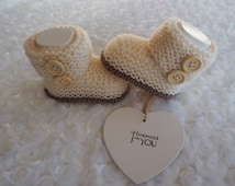 knitted baby booties,*H UGG Y* booties, baby boots baby slippers,baby shoes,football booties,christening shoes,baby shower gift.Ugg booties.