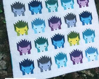 Hazel Hedgehog Elizabeth Hartman Quilt Modern Pattern 3 Sizes