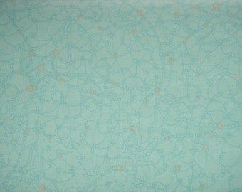 Tidal Lace Summer Beach Starfish Urchin Mint Green Yellow Netting Fabric BTY 1 Yd