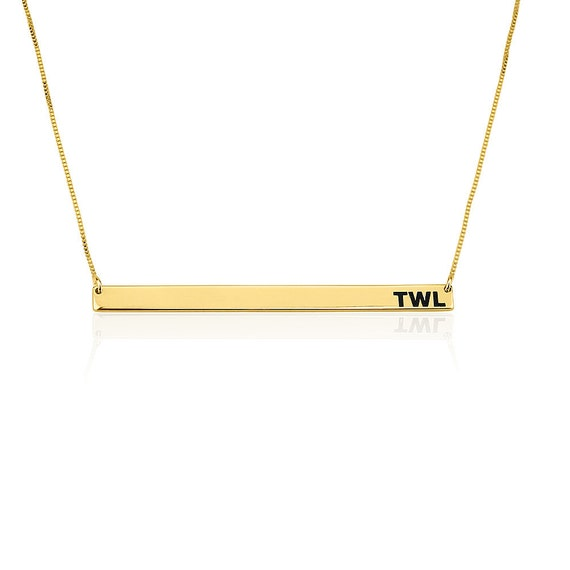 engraved horizontal bar necklace gold plated by onecklace. Black Bedroom Furniture Sets. Home Design Ideas
