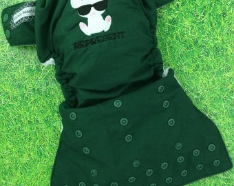 One size pocket / Attitude Represent Bunny embroidery / cloth diaper / snaps / Little Beasties / adjustable elastic & leg gussets