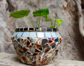 HANDMADE MOSAIC PLANTER-Bulbous Shaped Flower Pot-Subtle Colored