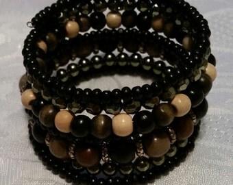 "Brown Cuff Beaded ""bracelet memory wire"