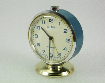 Working Vintage Russian Mechanical Alarm Clock Slava from Soviet Union Period  CCCP