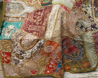 Vintage Indian Textile Handmade Luxurious Patchwork 1940s Wall Decor Table Cover