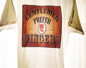 Gentlemen Prefer Gingers T Shirt Adult XL Victorian Steampunk Redhead Woman Sillhouette Cameo White Cotton Old West Style Printed Coppery