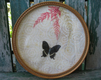 Vintage Asian Bamboo Butterfly Tray