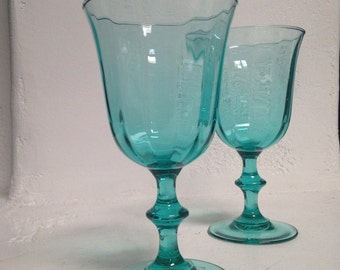 Vintage Turquoise Luminarc Wine Glasses Set of 2 Made in France Aqua Teal
