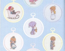 Cross Stitch - PRECIOUS MOMENTS in MINIATURE Pattern Book - Charted Designs - Alphabets, Christmas, Anniversary + more Kenyon Original Book