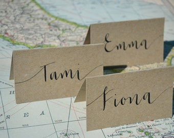 SAMPLE PACK - Wedding Place Card / Seating Card / Name Card - Hand Lettered, Handwritten Calligraphy