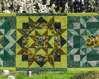 Bed Runner, Swoon pattern with sunflowers