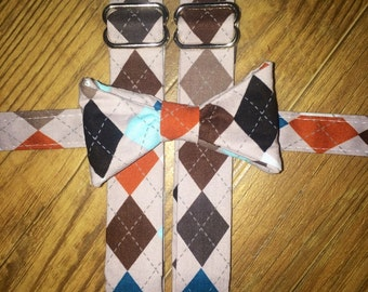 Boys/Toddler Argyle Fall Print/Bow tie and Suspenders/Perfect for weddings and ring bearers