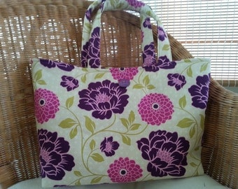 Floral Print Tote Bag in Pink, Purple, and Green