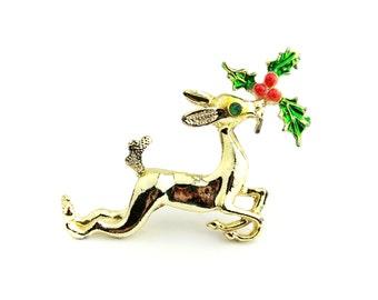 Gold Tone Reindeer Brooch / Christmas Jewelry / b15