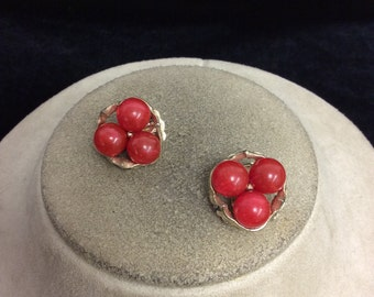 Vintage Red Beaded Earrings